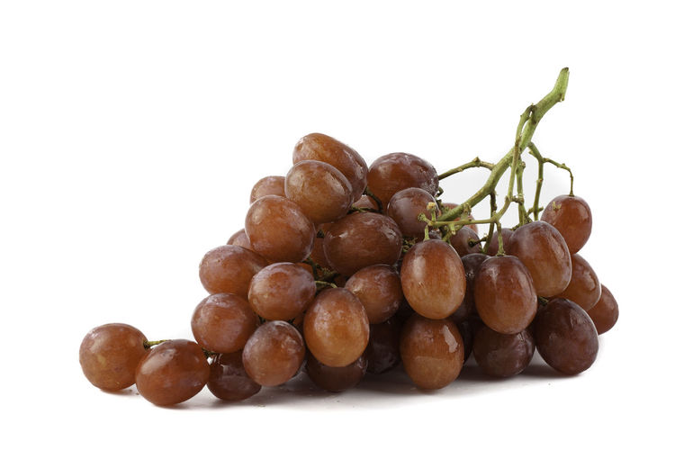Close-up of blueberries against white background