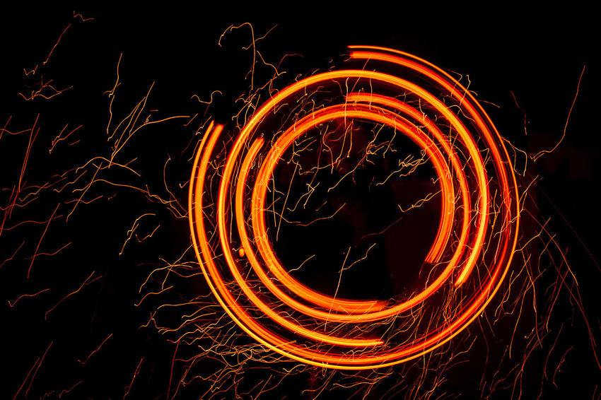 Circle Abstract Blurred Motion Burning Complexity Creativity Dark Fire Fire - Natural Phenomenon Glowing Light Light - Natural Phenomenon Light Trail Long Exposure Motion Night Orange Color Pattern Ring Ring Of Fire Round Shape Sparks Speed Spinning Wire Wool #FREIHEITBERLIN HUAWEI Photo Award: After Dark