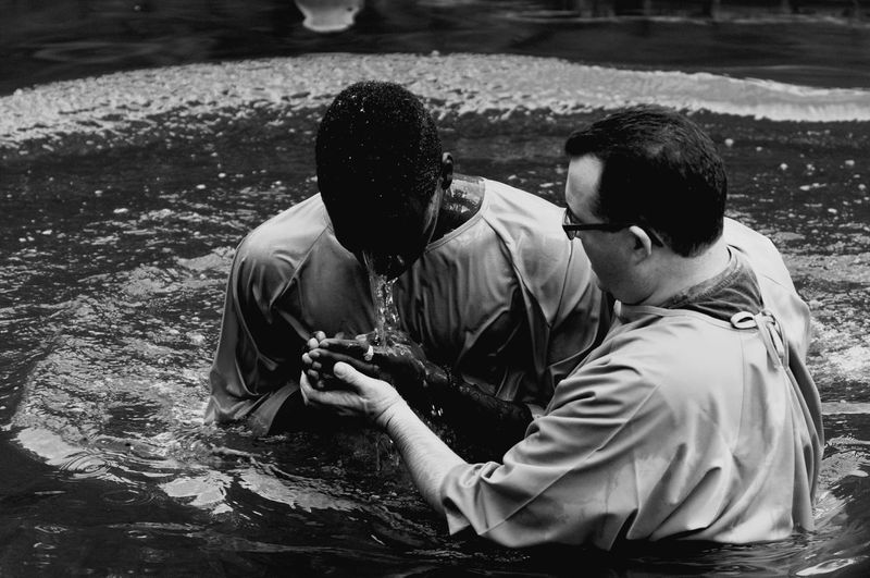 Immersion River Religion Christian Holy White Black Baptism Real People Outdoors Males  Enjoyment Day Togetherness Cheerful Mature Men People Happiness Smiling Adult Men Two People Mature Adult Water Black And White Friday