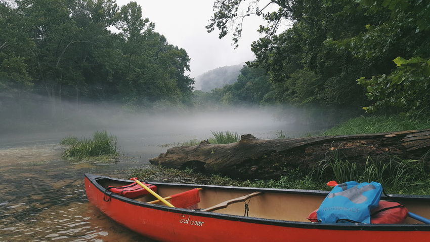 Mist Transportation Mode Of Transport Tree Boat Motion Water Red Nature Spraying Vacations Day Scenics Tourism Non-urban Scene Majestic Green Color Beauty In Nature Famous Place Mist Spring Natural Spring Red Canoe Canoe Floattrip