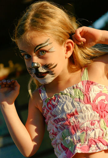 Cat Girl -- she's five years old, and played her part. Cat Girl Close-up Girl Makeup Portrait Theatrical Theatricalmakeup Play Sunny Clear Eyes