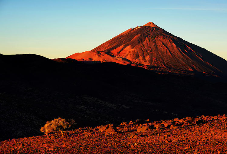 Rocky mountain at el teide national park against clear sky