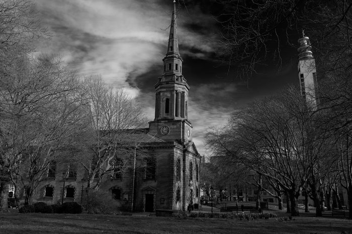 Birmingham st pauls with telecommunication tower backdrop Architecture Bare Tree Blackandwhite Photography Building Exterior Built Structure Church Day Gothic Style No People Outdoors Place Of Worship Prayer Religion