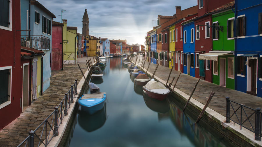 Quiet canal Burano, Italy Calm Venezia Venice, Italy Architecture Building Exterior Built Structure Burano Day In A Row Moored Nature Nautical Vessel No People Outdoors Sky Venice Water