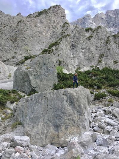 Man Standing On A Big Rock Outdoor Mountain Styria Landscape EyeEmNewHere Austria Hiking Outdoor Lost In The Landscape