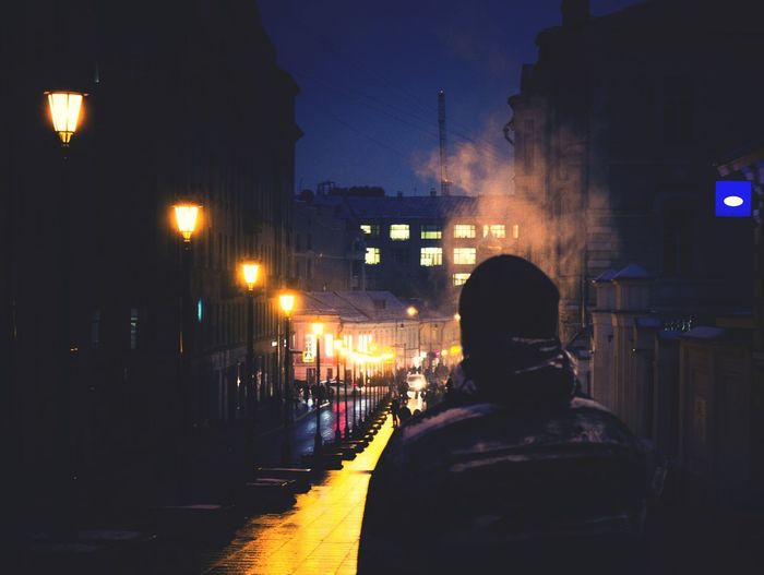 Night Rear View People Illuminated Adult Men Built Structure Only Men Adults Only One Person Outdoors City One Man Only Riot