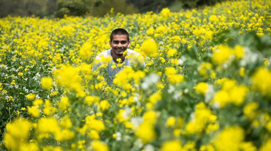 Portrait Of Man With Yellow Flowers In Field