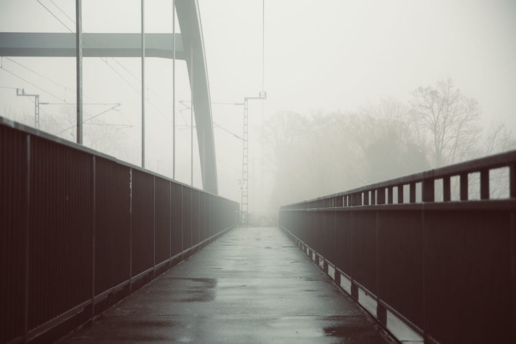 Bridge in foggy weather during winter