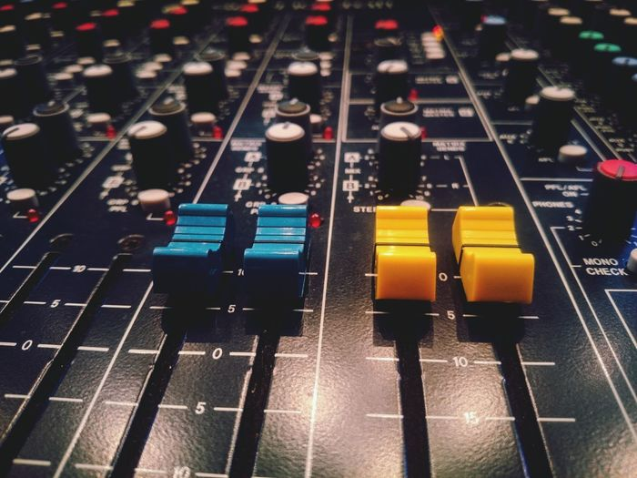 Paint The Town Yellow Sound Mixer Music Mixing Control Technology Indoors  Recording Studio Sound Recording Equipment No People Electronics Industry Close-up Radio Station Volume Sound