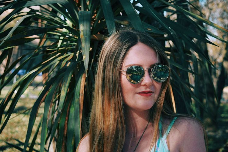 Tropical Girl Profile Sun Sunglasses Pretty Pretty Girl Relfection Spring Palm Headshot Beauty Nature Plant Green Tiedye Young Adult Beautiful Woman Outdoors Close-up Day