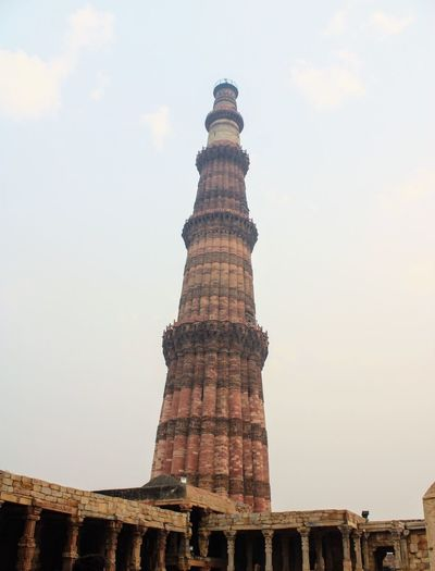 Qutb Minar Architecture Sky Built Structure Low Angle View History The Past Building Exterior Tower Brick Tall - High