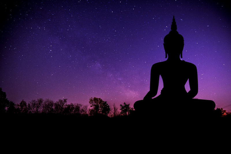 The Milky Way and silhouette of buddha statue. Art And Craft Beauty In Nature Human Representation Idol Low Angle View Male Likeness Nature Night No People Outdoors Religion Sculpture Silhouette Sky Spirituality Statue Tree