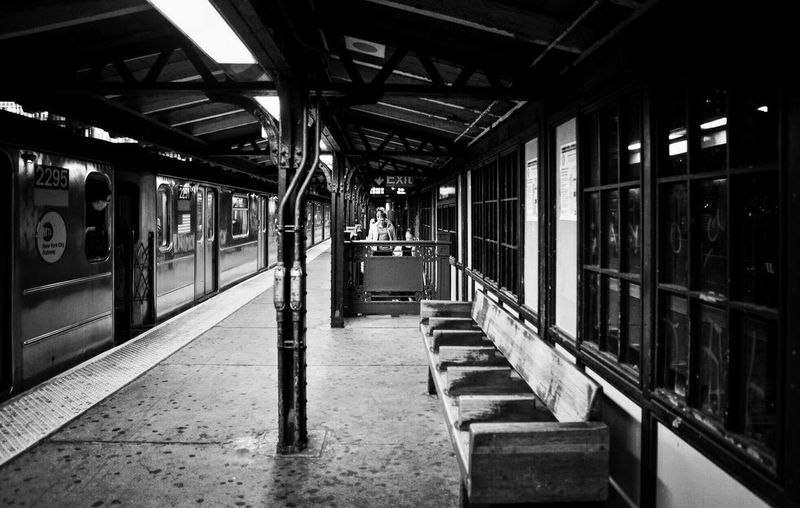 NYC Photography Metro Station Harlem  Subway Train Indoors  Public Transportation Mode Of Transport Railroad Station Platform Rail Transportation Train - Vehicle Transportation Be. Ready. An Eye For Travel The Graphic City Mobility In Mega Cities