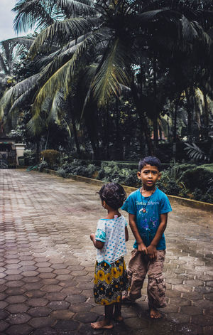 Bonding Boys Casual Clothing Childhood Day Elementary Age Front View Full Length Happiness Leisure Activity Lifestyles Looking At Camera Outdoors Palm Tree People Portrait Real People Standing Togetherness Tree Two People Young Adult