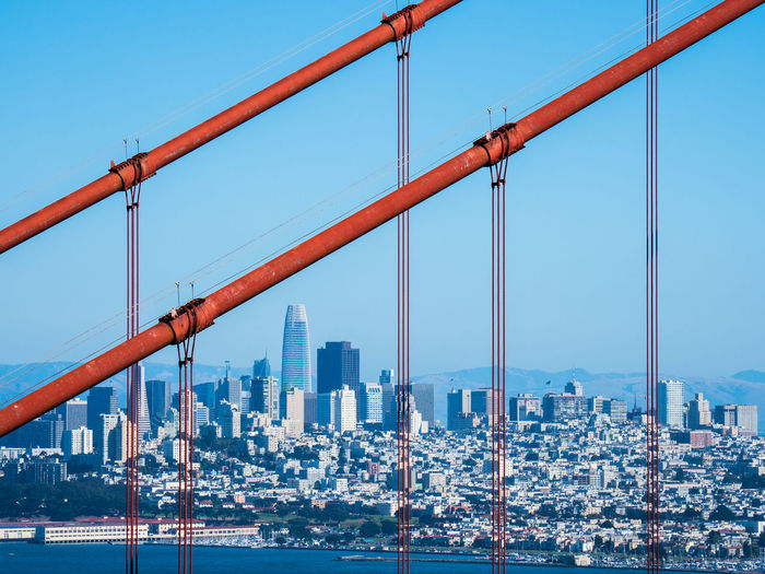 Skyline of downtown san francisco, seen through the red cables of the golden gate bridge