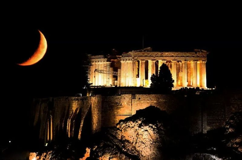 Ancient Ancient Civilization Architecture Building Exterior Built Structure Clear Sky History Illuminated Moon Nature Night No People Old Ruin Outdoors Sky Travel Travel Destinations