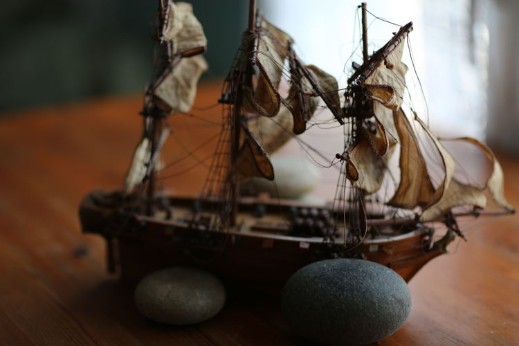 Close-Up Of Miniature Model Of Sailing Ship