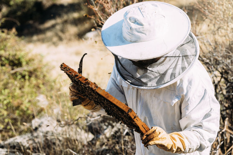 Woman working on field