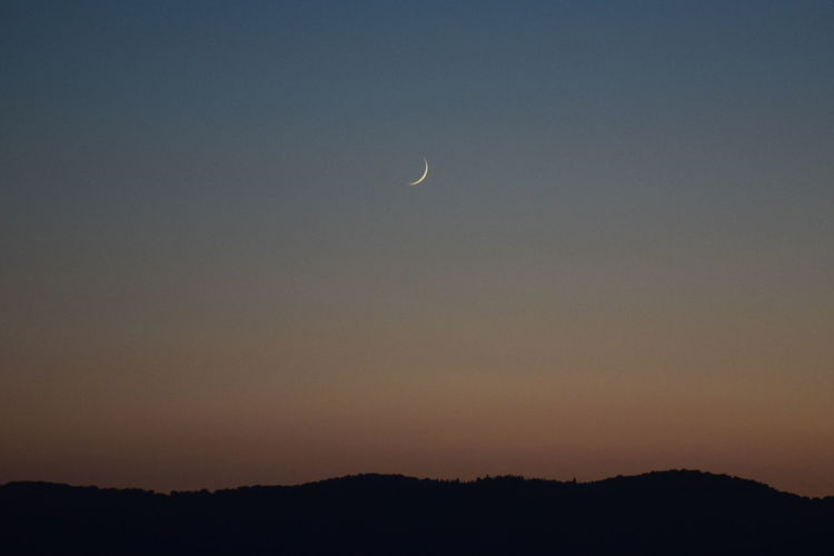 Moon Night Sky Scenics Sunset Beauty In Nature Outdoors Landscape Clear Sky Crescent No People