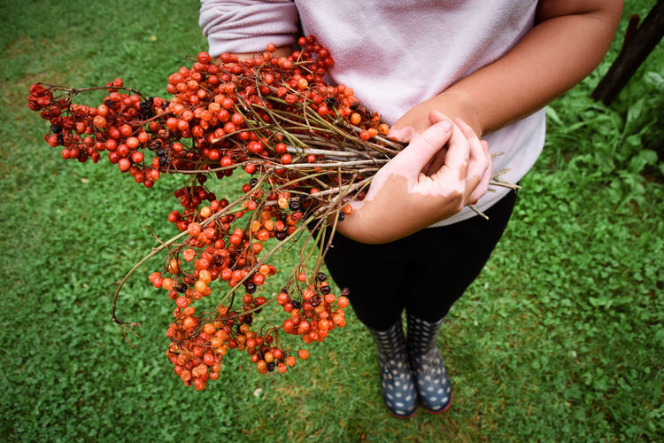 Vitiligo affected young girl standing and holding viburnum opolus red berries in her hands. autumn