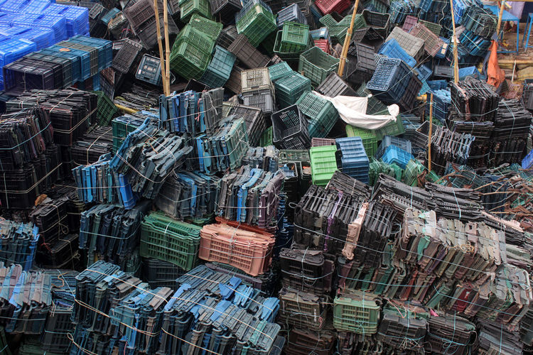 Abundance Full Frame Backgrounds Large Group Of Objects No People Stack Outdoors Multi Colored Retail  Market Choice Still Life For Sale High Angle View Building Architecture Basket Container Pattern Plastic Garbage