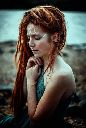 warrior I Dreadhead Dread Dreads Wonderlocks Vikings  Viking Nikon Sollenaphotography Wiesbaden Germany Girl Redhair Freckles Dreadlocks Redhead Serious Adult Beauty Only Women One Woman Only Beautiful People One Person Water Beautiful Woman Portrait Beach