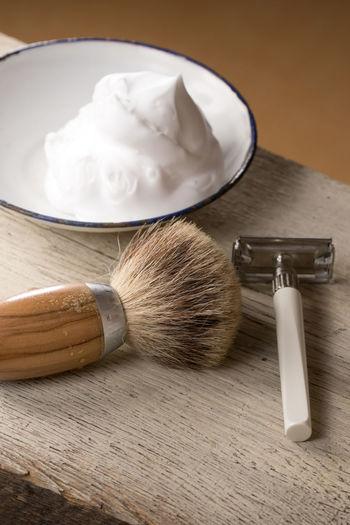 Barber Barbershop Beard Depilation Equipment Freshness High Angle View Hygiene Indoors  Indoors  Man Men No People Razor Retro Retro Style Shave Shaver Shaving Shaving Brush Table Vintage Wood Wood - Material