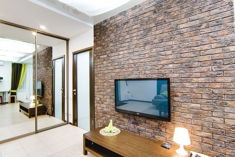 Architecture Wall - Building Feature Built Structure Indoors  Wall No People Brick Wall Brick Modern Domestic Room Home Interior Furniture Table Lighting Equipment Building Flooring Absence Empty Wood - Material Illuminated Light