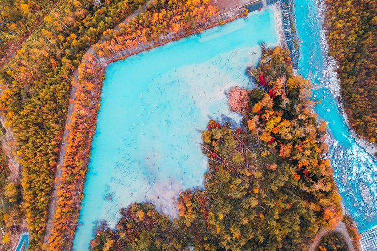 Daisetsuzan Water Nature Day High Angle View No People Outdoors Blue Beauty In Nature Sea Tranquility Scenics - Nature Close-up Plant Tranquil Scene Travel Destinations Land Solid Multi Colored Orange Color Turquoise Colored Swimming Pool