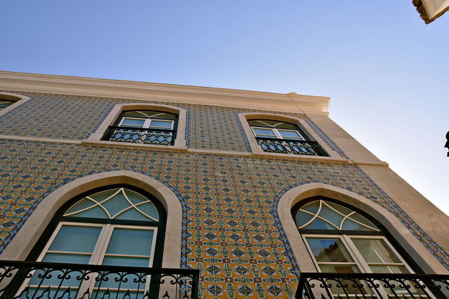 Architecture Art Azulejos Building Exterior Built Structure Clear Sky Colors Of Autumn Day Design Details Facade Building From My Point Of View Lisboa Low Angle View No People Outdoors Urban Design Walking Around The City  Windows