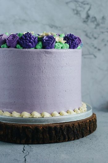 Close-up of purple cake on table
