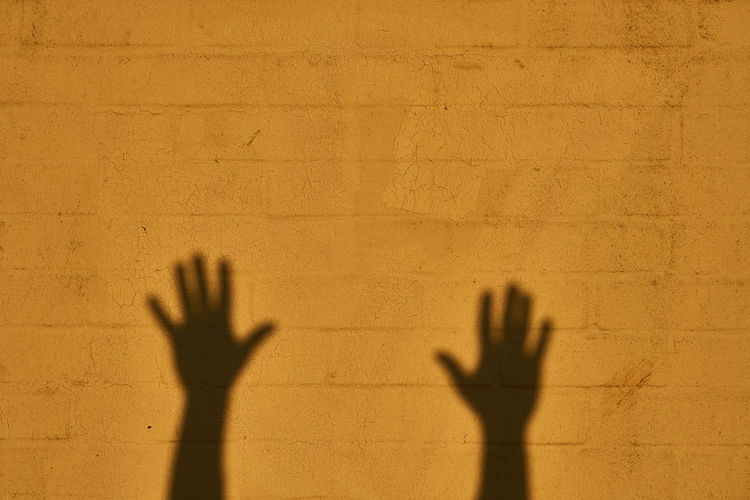 Hands shadow on a yellow brick wall Aggression  Architecture Body Part Copy Space Day Finger Focus On Shadow Hand Hand Shadow Hands Up Human Body Part Human Hand Human Limb Leisure Activity Lifestyles Men Mystery One Person Real People Shadow Silhouette Sunlight Unrecognizable Person Wall - Building Feature The Still Life Photographer - 2018 EyeEm Awards 10