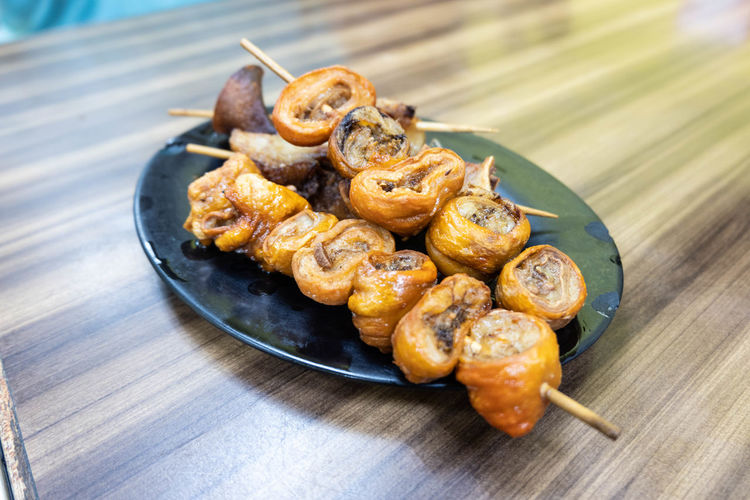 Food And Drink Skewer Street Food Worldwide Deep Fried  Hongkong Food Pork Innards Pork Intestine Street Food