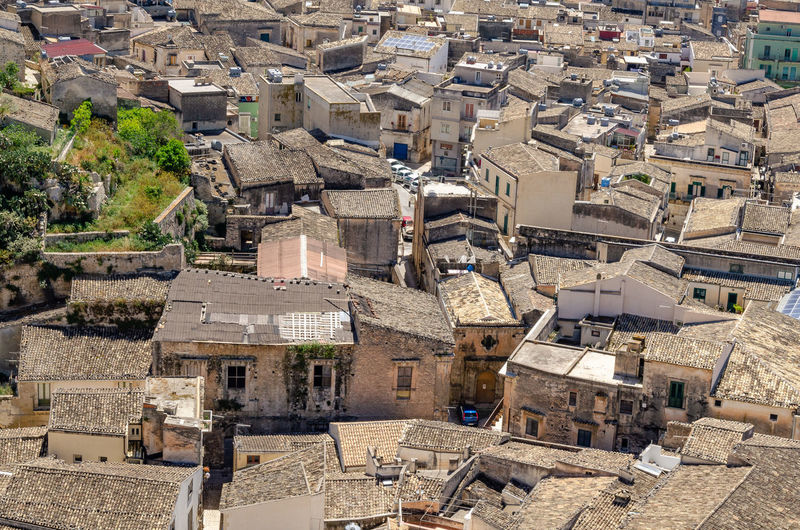 High angle view of old buildings in city