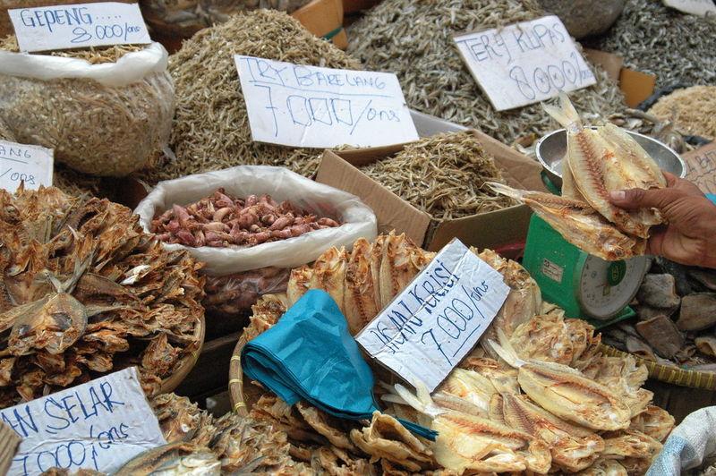 High angle view of various food at market stall