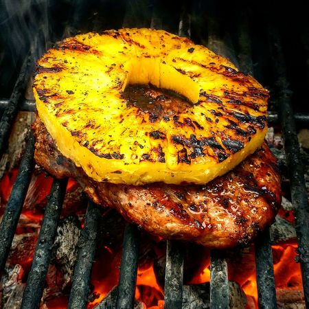 Grilled Pineapple Pork Chop BBQ Grilling Foodpic Foodporn Foodphotography Foodie Food Charcoal