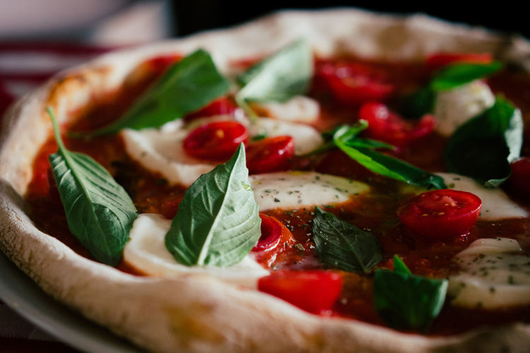 Close-up of fresh delicious pizza