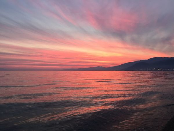 Millennial Pink Sunset Sea Water Beauty In Nature Nature Sky Scenics Tranquil Scene No People Tranquility Outdoors Horizon Over Water