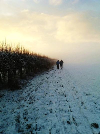 Winter Walk Meadows Country Views Winter Sky Trees Walking Snowy Walk Mist Winter Mist Winter Walks Snow Winter Sky Real People Beauty In Nature Cloud - Sky Nature Scenics - Nature Lifestyles