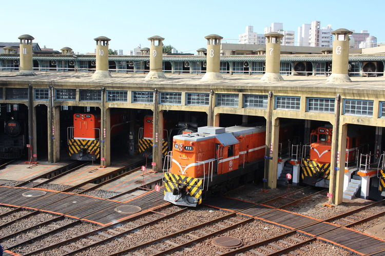 Changhua Changhua Railway Roundhouse Changhua, Taiwan Architecture Clear Sky Freight Transportation Locomotive Mode Of Transport No People Outdoors Public Transportation Rail Transportation Sky Sunlight Train - Vehicle Transportation