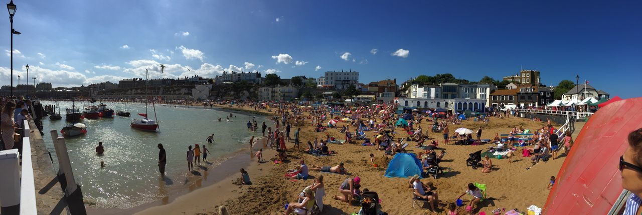 High angle view of people on beach in broadstairs