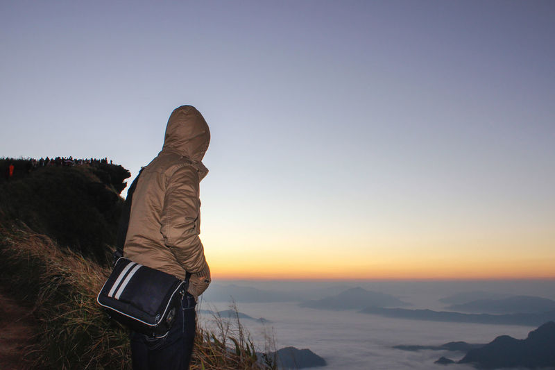 I alone Adventure Backpack Beauty In Nature Clear Sky Cold Temperature Full Length Hiking Landscape Leisure Activity Lifestyles Men Mountain Nature One Person Outdoors Real People Rear View Scenics Sky Snow Standing Sunset Warm Clothing Winter Women
