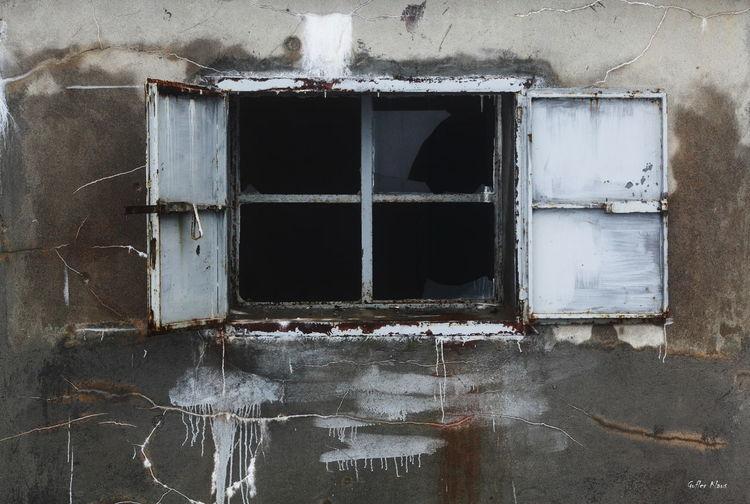Broken Window Of Abandoned Building