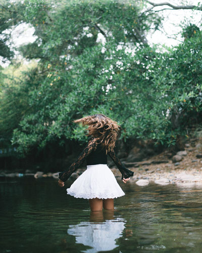 Beauty In Nature Casual Clothing Cloudy Dance Day Dress EyeEmNewHere Hair Happiness Lake Leisure Activity Lifestyles Nature One Person Outdoors Portrait Real People Reflection River Standing Tree Water Young Women