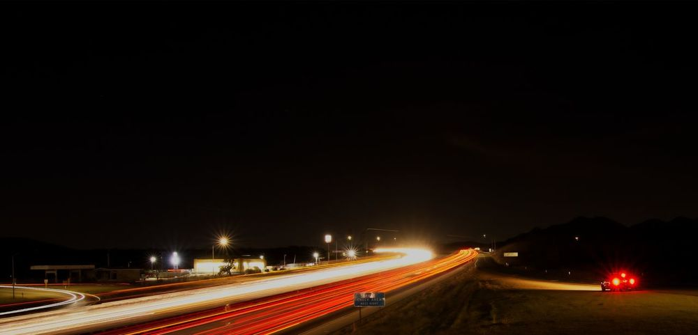 Cropped and edit. Final version Illuminated Light Trail Night Speed Motion Long Exposure High Street Road Transportation No People Blurred Motion