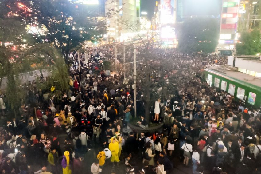 Shibuya Halloween Costume Halloween Crowd Group Of People Architecture City Large Group Of People Building Exterior Built Structure Street Celebration Illuminated Transportation City Street Lifestyles