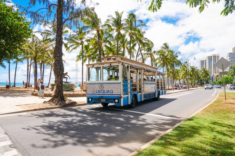 Waikiki beach tram Waikiki Waikiki Beach Hawaii Oahu Tram Transportation Vehicle Tourism Hawaii Tourism Beach Touristy