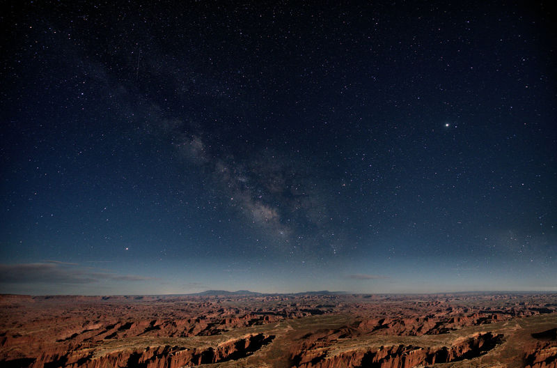 Scenic view of star field in sky at night