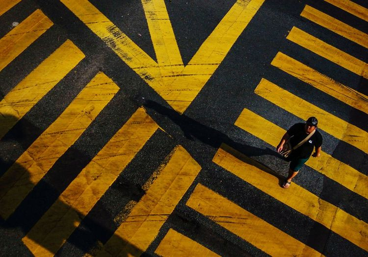 High Angle View Of Zebra Crossing