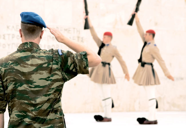 Parliamentary Guards at Greek Parliament in Athens Greek Parliament Parliament Building Soldiers Athens Day Greece Men Outdoors People Real People Rear View Skill  Standing Teamwork